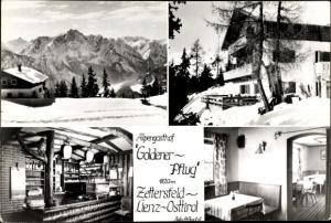 Ak Zettersfeld Lienz in Tirol, Alpengasthof Goldener Pflug, Außen- u. Innenansicht, Winterlandschaft
