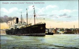 Ak Dampfer President Lincoln, Hamburg Amerika Linie