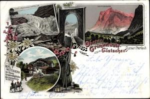 Litho Grindelwald Kanton Bern Schweiz, Wetterhorn, Höhle, Gletscher, Hotel Wetterhorn
