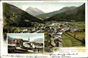 Ak Scharnitz in Tirol, Total mit Gleierspitze, Hotel Goldener Adler