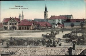 Ak Pancsova Pantschowa Serbien, Bahnhstation, Kutschen
