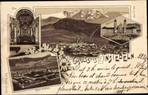 Litho Einsiedeln Kanton Schwyz Schweiz, Panorama, Klosterkirche, Chor, Kloster Einsiedeln