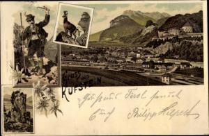 Litho Kufstein in Tirol, Teufelskanzel, Mann in Tracht, Bergziege