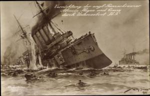 Künstler Ak Stöwer, Willy, Englische Panzerkreuzer Aboucir, Hogue und Cressy durch Unterseeboot U9