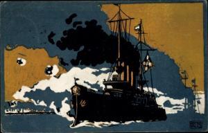 Künstler Ak Schulz, Adolf, Deutsches Kriegsschiff, Deutsches Rotes Kreuz