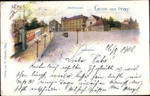 Ak Praha Prag Tschechien, Josefskaserne, Josefsplatz, Tram