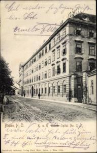Ak Baden bei Wien in Niederösterreich, KuK Militär Spital No. 2