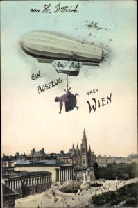Ak Wien 1., Panorama vom Ort, Zeppelin mit Frau am Haken, Fotomontage