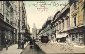 Ak Praha Prag Tschechien, Hybernergasse, Straßenbahn, Geschäft V. Suchy