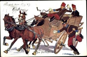 Künstler Ak Der Herrenfahrer, Kutsche, BKWI 411-2