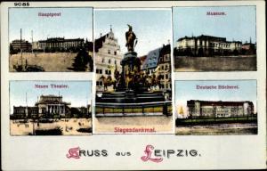 Ak Leipzig in Sachsen, Hauptpost, Museum, Theater, Deutsche Bücherei, Siegesdenkmmal