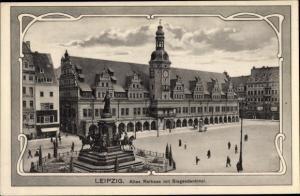 Jugendstil Ak Leipzig in Sachsen, Rathaus mit Siegesdenkmal