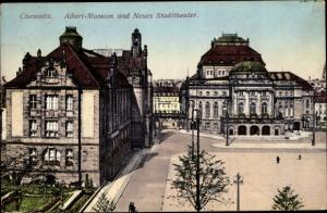 Ak Chemnitz in Sachsen, Albert Museum und Neues Stadttheater