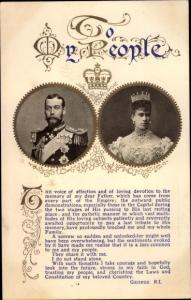 Passepartout Ak King George V, Queen Elizabeth, Portrait