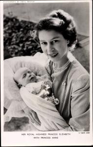 Ak Princess Elizabeth with Princess Anne, Portrait, Tuck