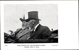 Ak König Eduard VII. von England, King Edward VII., President Loubet, London 1903