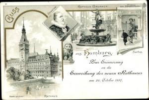Litho Hamburg Mitte Altstadt, Rathaus, Rathaus Brunnen, Senator, Bachus