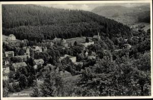 Ak Duszniki Zdrój Bad Reinerz Schlesien, Vogelschau vom Ort, Wald
