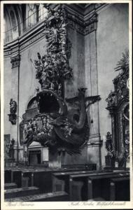 Ak Duszniki Zdrój Bad Reinerz Schlesien, Kath. Kirche, Innenansicht, Walfischkanzel