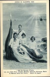 Ak I figli dei Sovrani d'Italia, Anno di Guerra 1915, Princ. Jolanda, Mafalda, Umberto, Giovanna