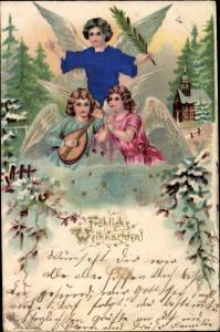Stoff Präge Litho Glückwunsch Weihnachten, Drei Engel mit Palmzweig und Laute, Kirche, Sterne