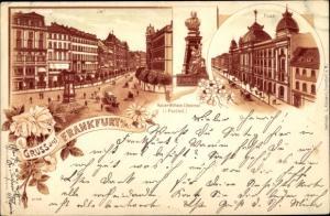Litho Frankfurt am Main, Kaiser Wilhelm I. Denkmal, Post, Zeil