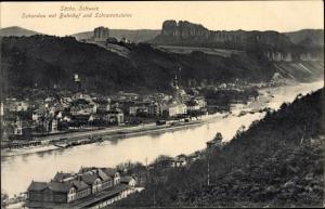 Ak Bad Schandau an der Elbe, Bahnhof, Schrammsteine, Flusspartie