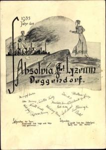 Studentika Ak Deggendorf im Bayerischen Wald Niederbayern, Absolvia 1935, Lyzeum