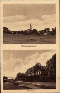 Ak Kirchenlaibach Speichersdorf Oberfranken, Bahnhof, Gleisseite, Totalansicht vom Ort