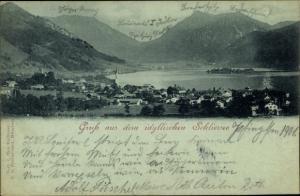 Mondschein Ak Schliersee in Oberbayern, Panoramaansicht von Ortschaft, See, Berge