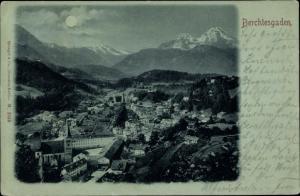 Mondschein Ak Berchtesgaden in Oberbayern, Panoramaansicht von Ortschaft