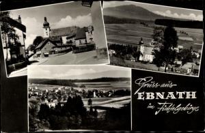 Ak Ebnath im Fichtelgebirge, Panoramaansicht von Ortschaft, Kirche