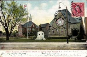 Ak Newport Rhode Island USA, Soldier's Monument, 1st Presbyterian Church and Calvert School
