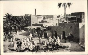 Ak Sidi Okba Algerien, Place du Marché, Marktplatz, Anwohner, Händler