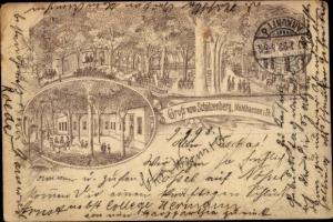 Litho Mühlhausen in Thüringen, Gasthaus Schützenberg, Gartenpartie