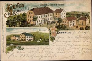 Litho Rabitz Kubschütz in Sachsen, Gasthof zur Schlieferschenke, Czorneboh