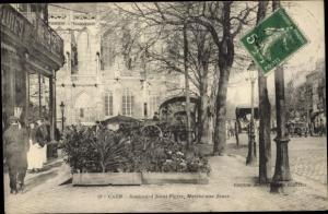 Ak Caen Calvados, Boulevard Saint Pierre, Marche aux fleurs