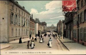 Ak Commercy Lothringen Meuse, La Sous Prefecture et la Rue Carnot