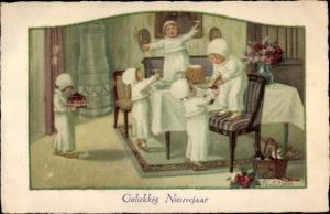 Künstler Ak Ebner, Pauli, Glückwunsch Neujahr, Tischrunde, Kinder, Kuchen, Sekt