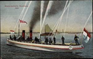Ak Amsterdamsche Brandweer, Jason, Feuerwehr, Löschschiff