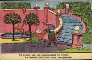Künstler Ak Elefant und Teddy als Kinder, Orangerie, Papageien, Bruintjes Beer