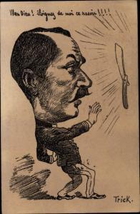 Künstler Ak Trick, Mon Dieu, Iloignez de moi ce rasoir, Rasierklinge, Karikatur