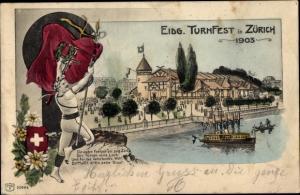 Litho Zürich Stadt Schweiz, Eidgenössisches Turnfest 1903