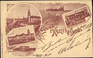 Litho Keszthely Kesthell Ungarn, Festetics palota, Fürdö, Balaton