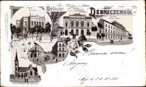 Litho Debreczen Debrecen Debrezin Ungarn, Szinhaz, Theater, Kossuth Utcza, Kiralyi Tabla, Kirche