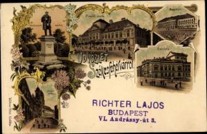 Litho Székesfehérvár Stuhlweißenburg Ungarn, palota, Szinhaz, Nador utcza, szobor, Magyehaz