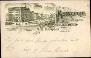 Litho Budapest Ungarn, Hotel Metropole Szalloda, Inh. Petanovits Jozsef, Kerepesi ut. 58
