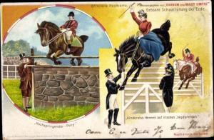 Litho Zirkus Barnum and Bailey, Hochspringendes Pony, Hindernisrennen auf irischen Jagdpferden