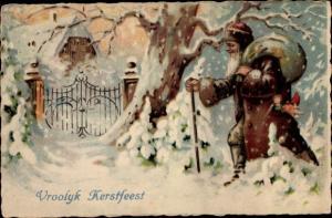 Künstler Ak Frohe Weihnachten, Vroolyk Kerstfeest, Weihnachtsmann