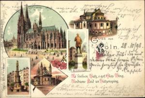 Litho Köln, Dom, Maria Capitol, Apostelkirche, Jahn van Werth u. Bismarck Denkmal